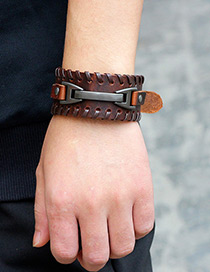 Fashion Brown Buckle Decorated Bracelet