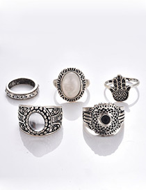 Fashion Silver Color Pure Color Decorated Ring ( 5 Pcs )