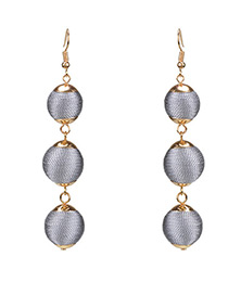 Fashion Gray Pure Color Decorated Earrings