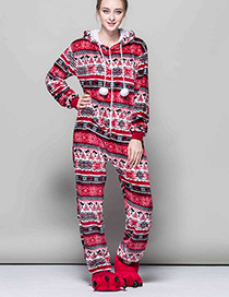 Fashion Plum Red Snowflake Pattern Decorated Pajams