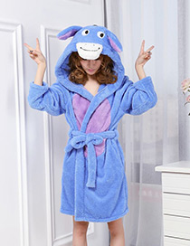 Fashion Blue Donkey Shape Decorated Nightgown