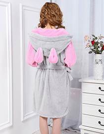Fashion Pink+gray Mouse Ear Shape Decorated Nightgown