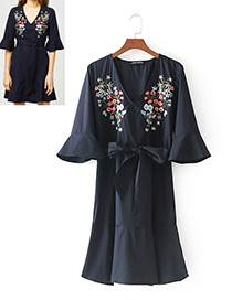 Fashion Navy Flower Pattern Decorated Simple Dress