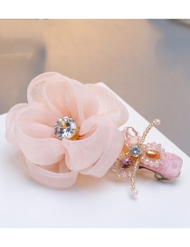 Fashion Pink Diamond&flower Decorated Hairpin