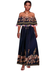 Fashion Navy Flower Pattern Decorated Off The Shoulder Dress