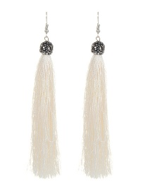 Fashion White Tassel Decorated Earrings