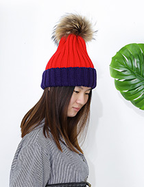 Fashion Navy+red Ball Decorated Pom Adult Hat