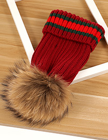 Fashion Claret Red Stripe Pattern Decorated Pom Adult Hat