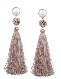 Fashion Coffee Pearl Decorated Earrings