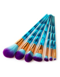 Fashion Sapphire Blue Sector Shape Decorated Makeup Brush (7 Pcs)