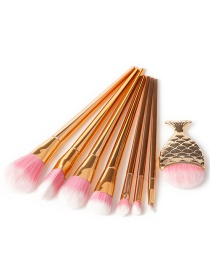 Fashion Rose Gold Pure Color Decorated Makeup Brush (8 Pcs)
