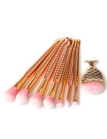 Fashion Rose Gold Mermaid Shape Decorated Makeup Brush (8 Pcs )
