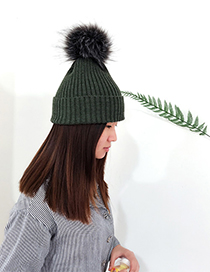 Fashion Olive Green Ball Decorated Pom Adult Hat