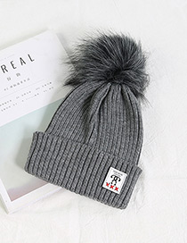 Fashion Gray Ball Decorated Pom Adult Hat