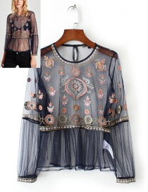 Fashion Navy Embroidery Flower Decorated Smock