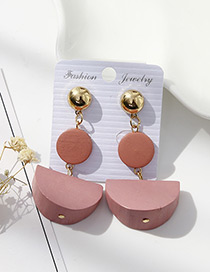 Fashion Pink Sector Shape Decorated Earrings