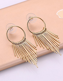 Fashion Gold Color Vertical Shape Decorated Pure Color Earrings