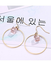 Fashion Gold Color+pink Diamond&circular Ring Decorated Earrings