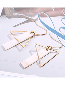 Fashion Gold Color+white Vertical Shape Decorated Long Earrings
