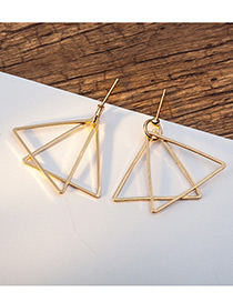 Elegant Gold Color Triangle Shape Decorated Pure Color Earrings