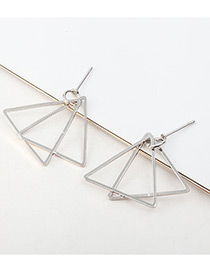 Elegant Silver Color Triangle Shape Decorated Pure Color Earrings