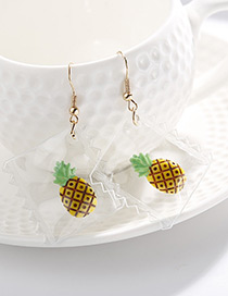 Personality Yellow+green Pineapple Pendant Decorated Earrings