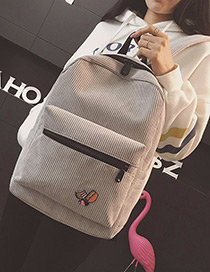 Fashion Light Gray Badge Pattern Decorated Backpack