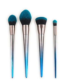 Fashion Blue+black Color Matching Decorated Makeup Brush(4pcs)