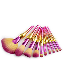 Fashion Yellow+pink Sector Shape Decorated Makeup Brush(10pcs)