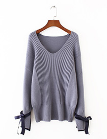 Fashion Gray+blue Bowknot Decorated V Neckline Sweater