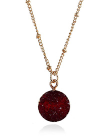 Elegant Dark Red Rouond Shape Pendant Decorated Necklace