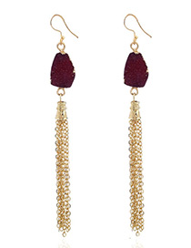 Fashion Dark Red Chains Decorated Long Tassel Earrings