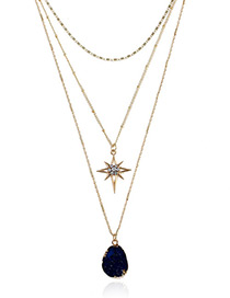 Elegant Dark Blue Geometric Shape Decorated Multi-layer Necklace