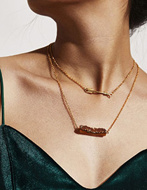 Fashion Coffee Arrow Decorated Double Layer Necklace