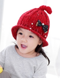 Lovely Red Bowknot&pearl Decorated Child Cap (1-6years Old)