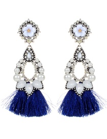 Fashion Sapphire Blue Flower Decorated Tassel Earrings