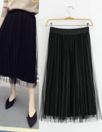 Trendy Black Pure Color Decorated Long Skirt