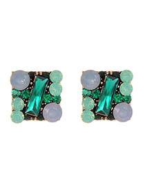 Fashion Green Full Diamond Decorated Square Shape Earrings