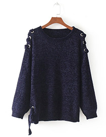 Fashion Navy Pure Color Decorated Bandage Design Sweater