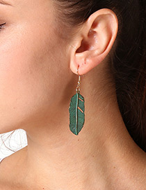 Fashion Dark Green Feather Pendant Decorated Earrings