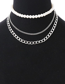 Fashion Silver Color Pearls Decorated Multi-layer Necklace