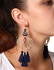 Fashion Gold Color+navy Tassel Decorated Sector Shape Earrings