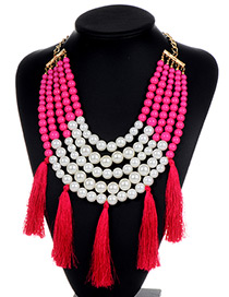 Fashion Plum Red Pearls&tassel Decorated Necklace