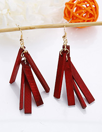 Fashion Dark Red Strip Shape Decorated Earrings