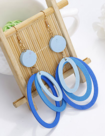 Fashion Light Blue Round Shape Decorated Multilayer Earrings