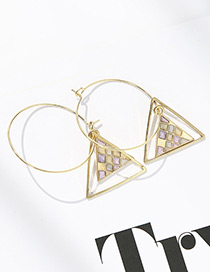 Elegant Purple Triangle Shape Diamond Decorated Earrings