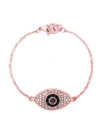 Elegant Rose Gold Eye Shape Decorated Bracelet