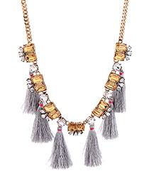 Bohemia Blue Square Shape Diamond Decorated Necklace