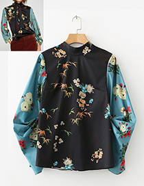 Fashion Black+blue Flower Pattern Decorated Blouse