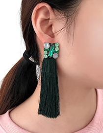 Bohemia Dark Green Square Shape Decorated Earrings